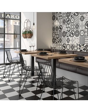 Luxury Tiles Checkered Black Square 223x223mm Floor & Wall Tile