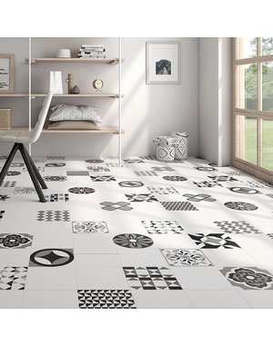 Luxury Tiles Checkered White Square 223x223mm Floor & WallTile