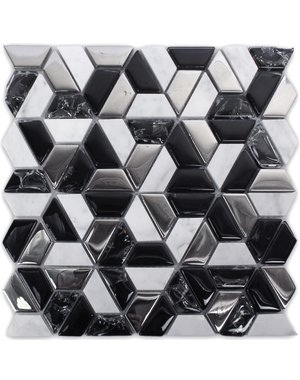 Luxury Tiles Vertex Black White Hex Slice Marble Mosaic Tile