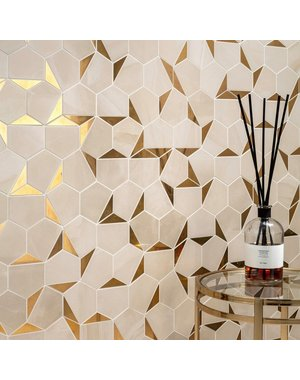Luxury Tiles Hexagon Gold Honeycomb Mosaic Tile