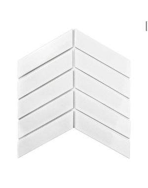 Luxury Tiles Chevron Gloss white decor tile