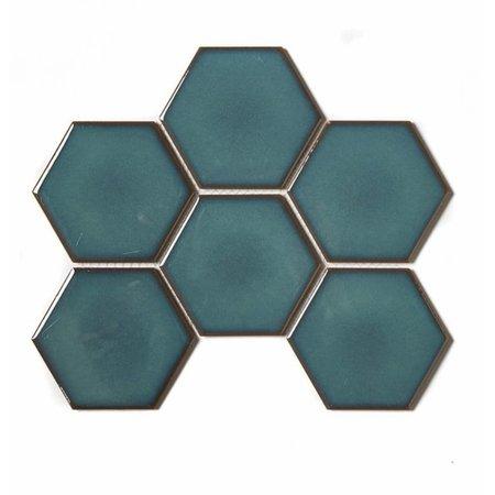 Luxury Tiles Hex Bay Green Mosaic Sheet