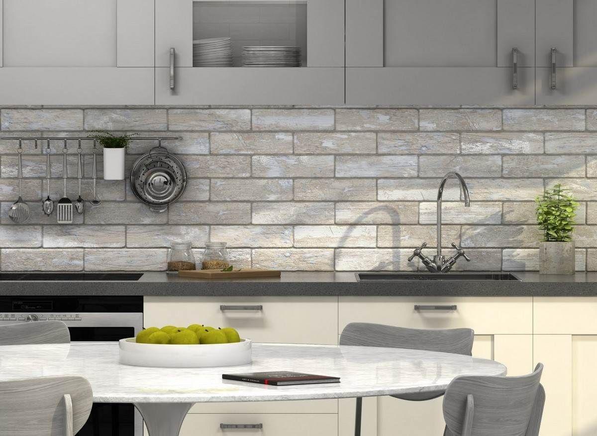 Arizona White Washed Wood Effect Brick Wall And Floor Tile 75x280mm Luxury Tiles