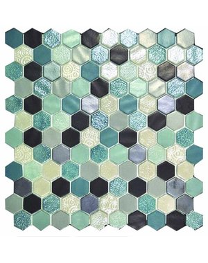 Luxury Tiles Avatar Hex Aqua Glass Mosaic Tile