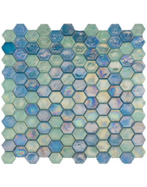 Luxury Tiles Blue Pearl Glass Hexagon Mosaic Wall Tile