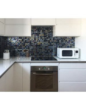 Luxury Tiles Onyx Black Rustic Glass Mosaic Wall Tile