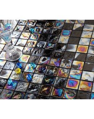 Luxury Tiles Onyx Black Rustic Glass Mosaic Wall Tile