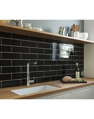 Luxury Tiles High Gloss Jet Black Metro 300x100mm Wall Tile