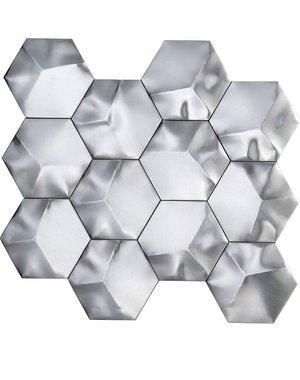 Luxury Tiles Avatar Silver Hexagon mosaic tile