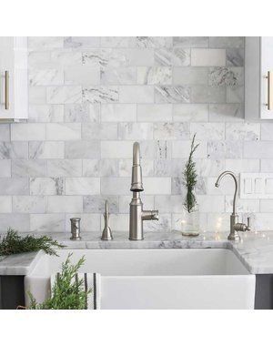 Luxury Tiles White Marble Metro Brick Wall and Floor Mosaic Tile