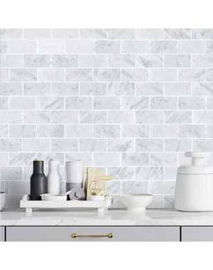 Luxury Tiles White Marble Metro Brick Wall and Floor Mosaic Tile