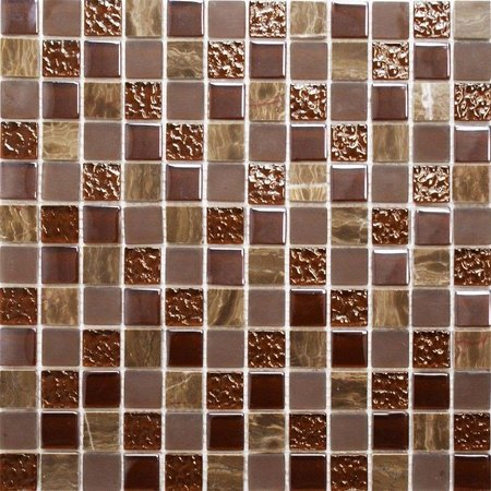 Luxury Tiles Latte Brown Marble and Glass Mix Mosaic Tile