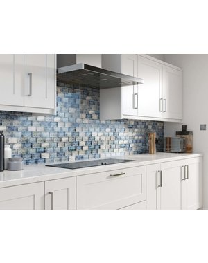 Luxury Tiles Blue Mix Glass Brick Effect Wall Mosaic Tile