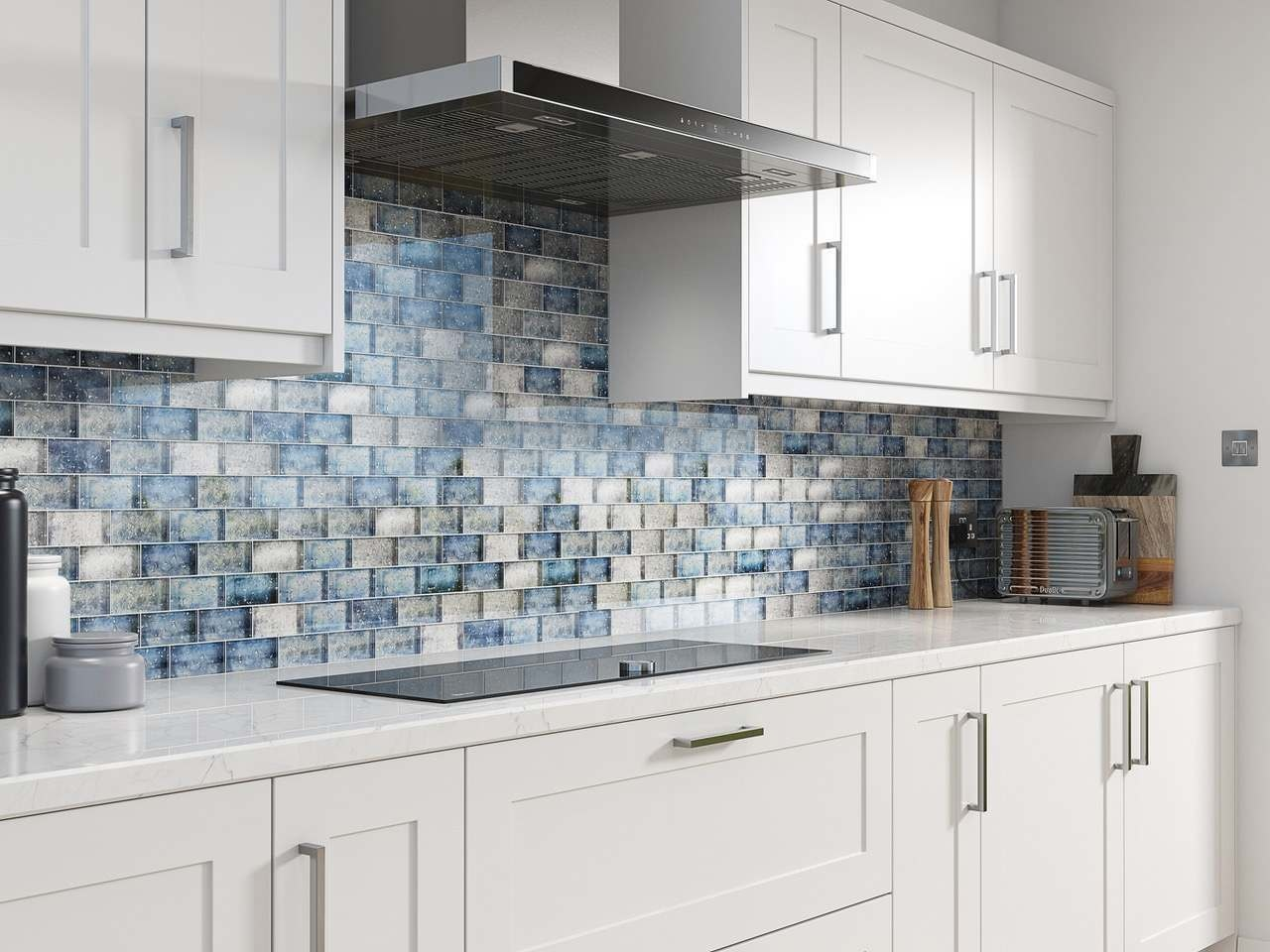Blue Mix Glass Brick Effect Wall Mosaic Tile 300x300mm Luxury Tiles