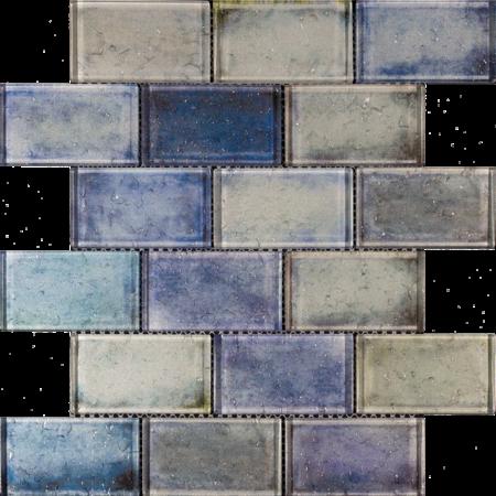 Luxury Tiles Blue Mix Glass Brick Effect Wall Mosaic Tile 300x300mm