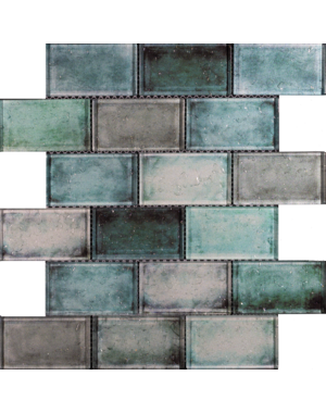 Luxury Tiles Green Mix Glass Brick Effect Wall Mosaic Tile