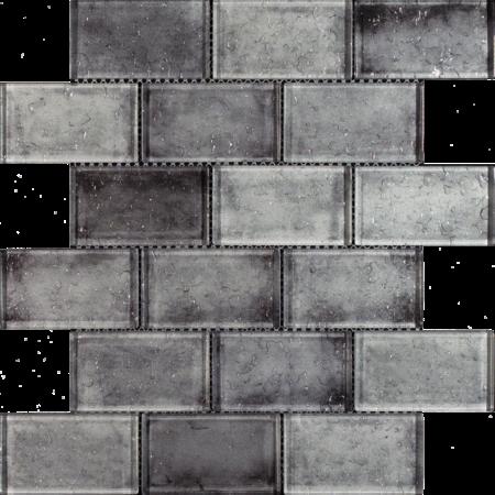 Luxury Tiles Grey Mix Glass Brick Effect Wall Mosaic Tile 300x300mm
