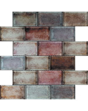 Luxury Tiles Red Mix Glass Brick Effect Wall Mosaic Tile