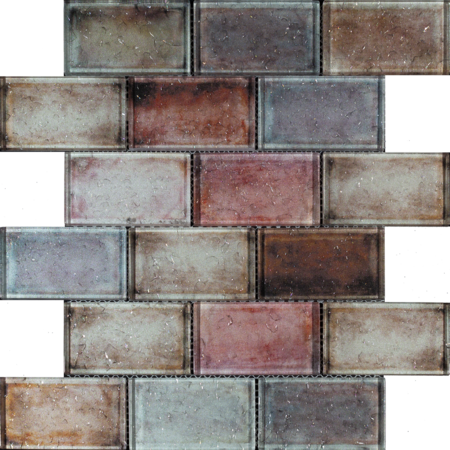 Luxury Tiles Red Mix Glass Brick Effect Wall Mosaic Tile 300x300mm