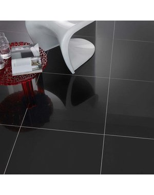 Luxury Tiles Knightsbridge Black Diamond Gloss 80x80cm Wall and Floor Tile