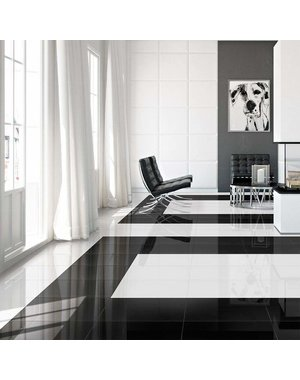 Luxury Tiles Knightsbridge Black Diamond Gloss 45.2x45.2cm Wall and Floor Tile
