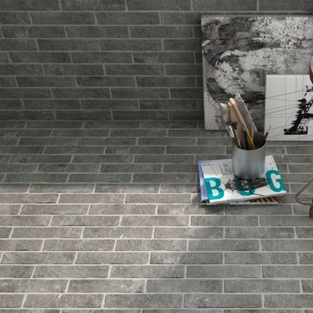 Luxury Tiles Stone Dark Grey Riven Brick Floor and Wall Tile 25x6cm