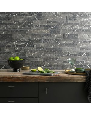 Luxury Tiles Charcoal Black Veined Matt Split Face Wall Tile