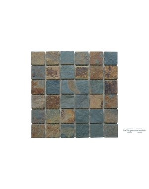 Luxury Tiles Multi-colour Riven Slate Wall and Floor Tile  30.5cm x 30.5cm