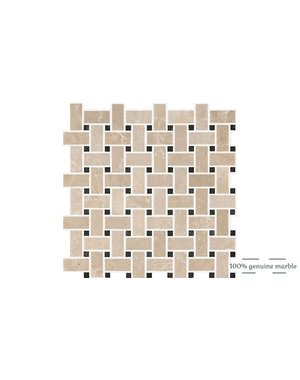 Luxury Tiles Botticino Basketweave Wall and Floor Tile 30.5cm x 30.5cm