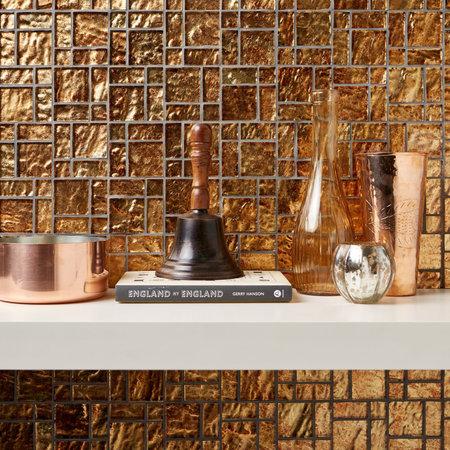 British Ceramic Tiles Bronze Foil Glass Mosaic  300x300mm