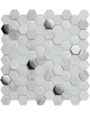 Luxury Tiles Silver Supernova Geometric Metro Wall Tile 31cm x 31cm