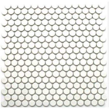 Cream Penny Mosaic Wall and Floor Tile 30.5cm x 30.5cm