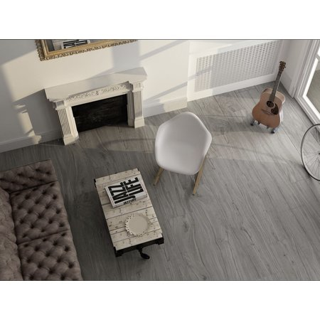 Elements Stone grey wood effect 120x22.3cm Floor tile