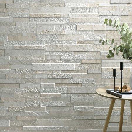 Luxury Tiles White Split Face Effect Porcelain Wall Tile 610x150mm