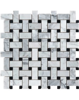 Luxury Tiles Tuscany Bianca and Nero Marble Honed Mosaic 300x300mm Floor and Wall tile