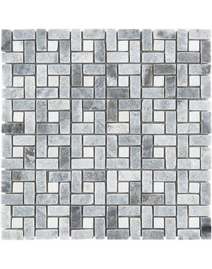 Luxury Tiles Baltic Grey Polished Marble Crosshatch Mosaic Tile