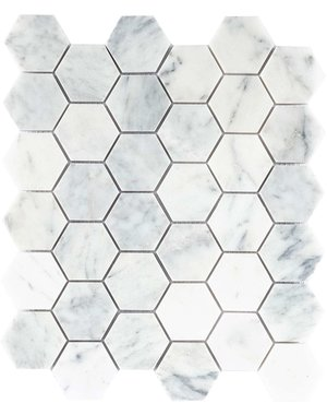 Luxury Tiles Amasya White Honed Marble Hexagon Mosaic Tile