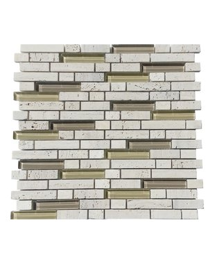 Luxury Tiles Authentic Stone with Glass Mixed Brick Mosaic Tile