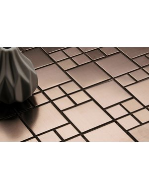 Luxury Tiles Faberge Rose Gold Steel Square Mosaic Tile
