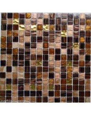 Pandemonium Dark brown and copper square glass mosaic tile
