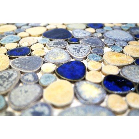Luxury Tiles Modesto- Ceramic Mosaic Tile Pebble blue / gold mix