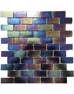 Luxury Tiles Iridescent Oud Glass Brick Mosaic Tile