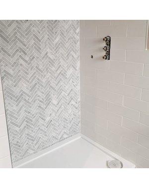 Ca' Pietra Carrara Marble Honed Chevron Mosaic 300x317mm Tile