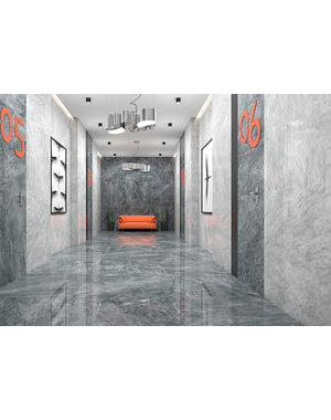Luxury Tiles Hamlet Light Grey Marble Effect Polished Porcelain Floor Tile