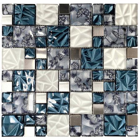 Luxury Tiles Lux Blue Square Mosaic Tile 30 x 33.5cm
