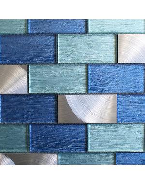 Craft Ceramics Portland Blue Brick Mosaic Tile