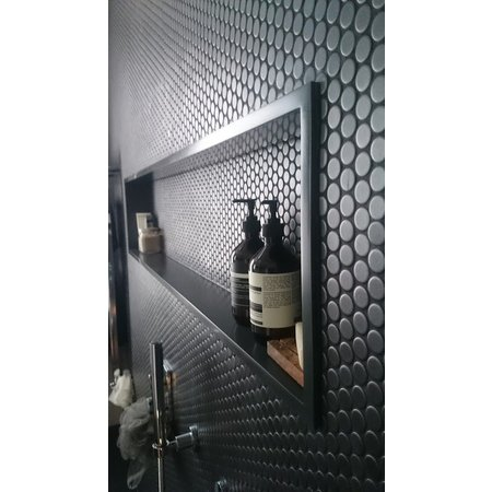 Luxury Tiles Black Matt Penny Circle Mosaic Tile