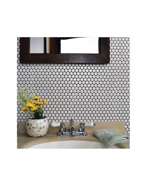 Luxury Tiles White Gloss Penny Circle Mosaic Tile