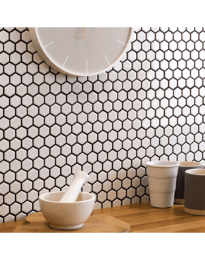 Luxury Tiles Shapes Hexagon Gloss White Mosaic Tile
