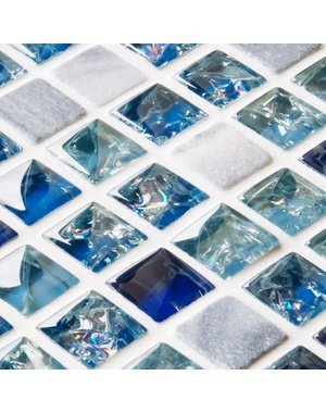 Craft Ceramics Starburst Blue Mix Glass and Stone Mosaic Tile